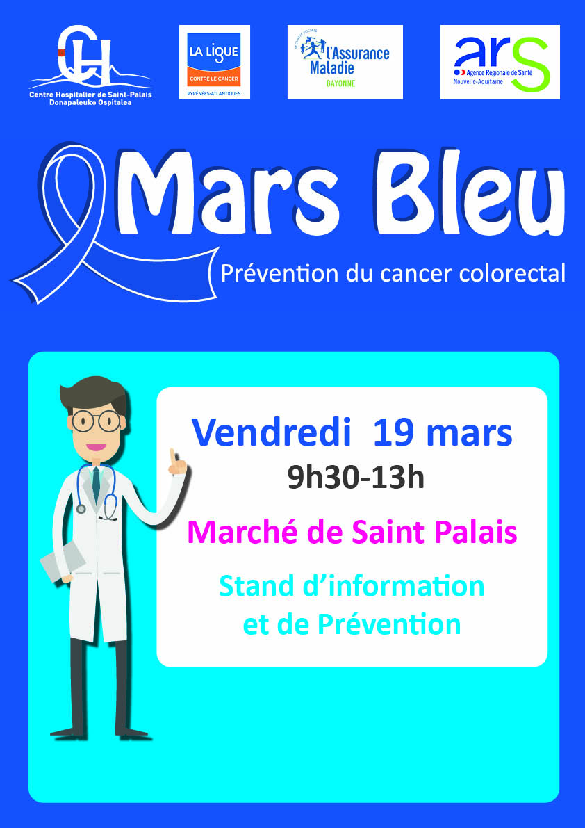 prévention cancer colorectal Mars Bleu Saint Palais 19 mars